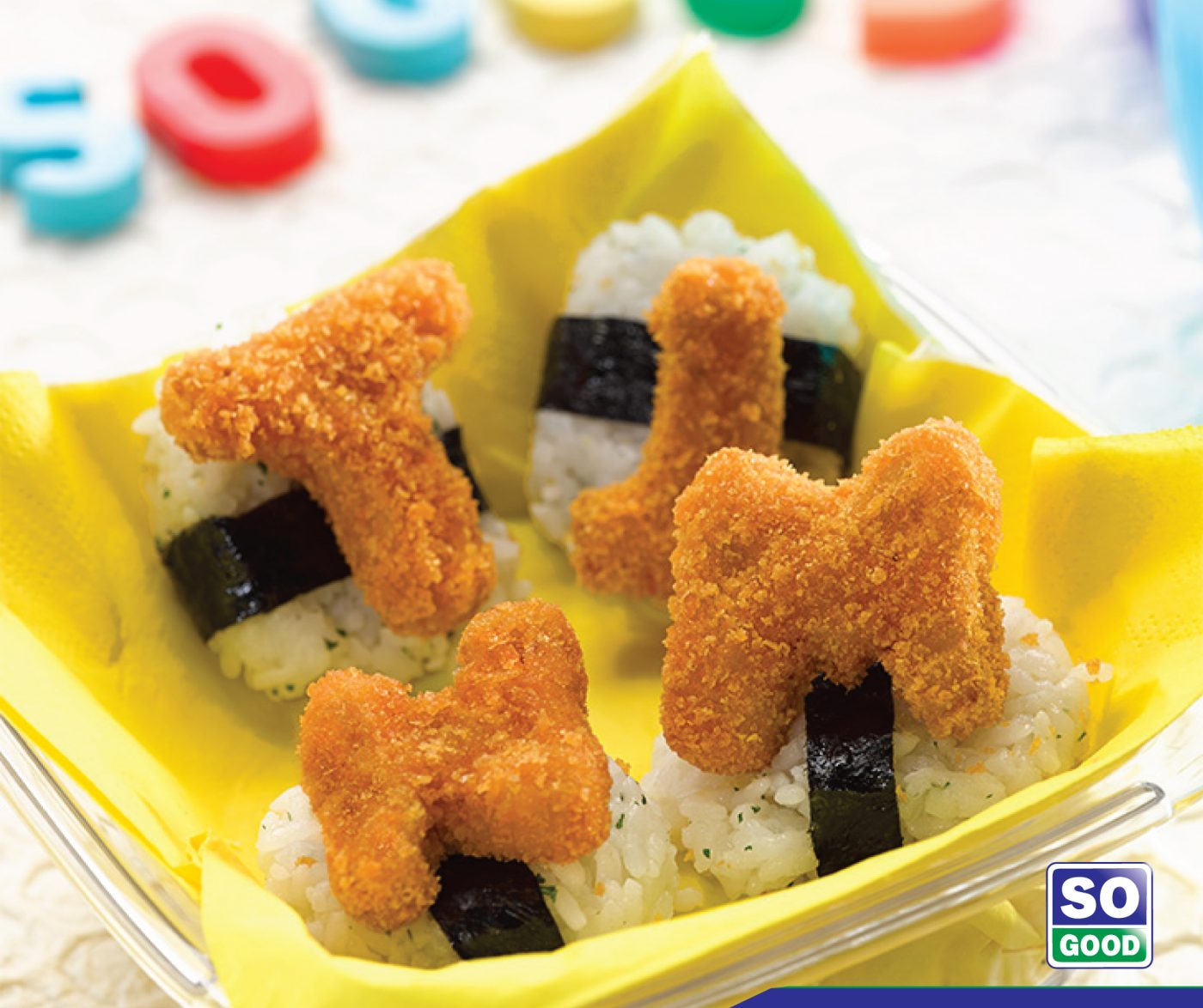 image Alphabet Onigiri With So Good Chicken Nugget